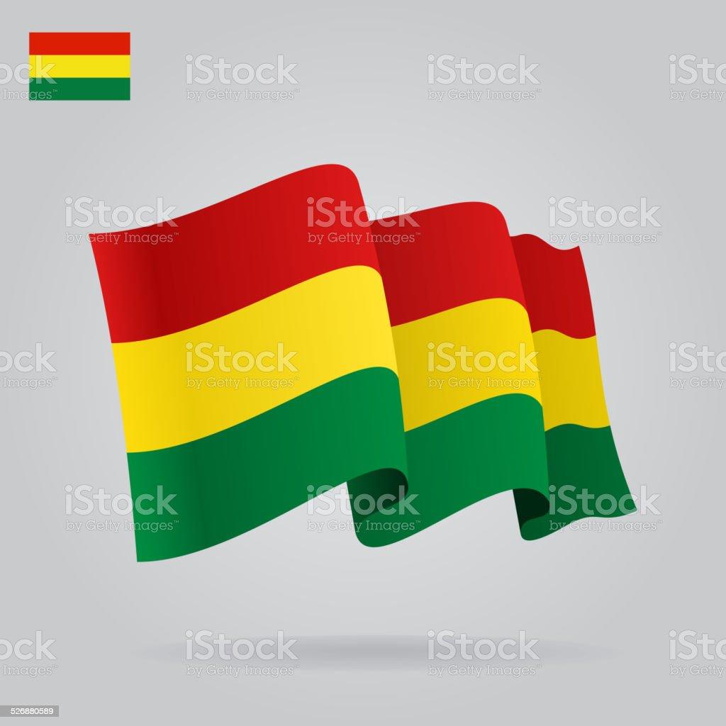 Fondo con agitando bandera boliviana. Vector - ilustración de arte vectorial