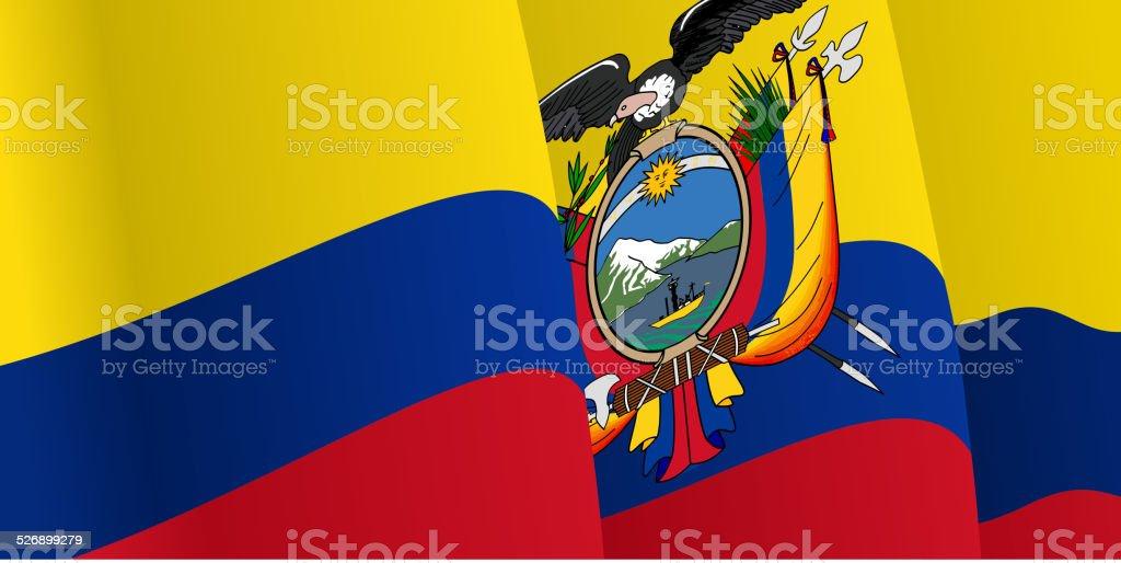 Acenando fundo com Bandeira do Equador. Vetor - ilustração de arte em vetor