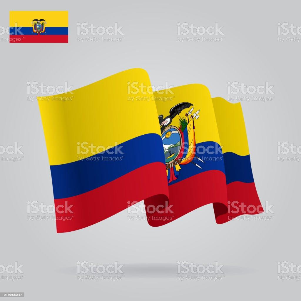 Fond avec agitant le drapeau de l'équateur. Illustration - Illustration vectorielle