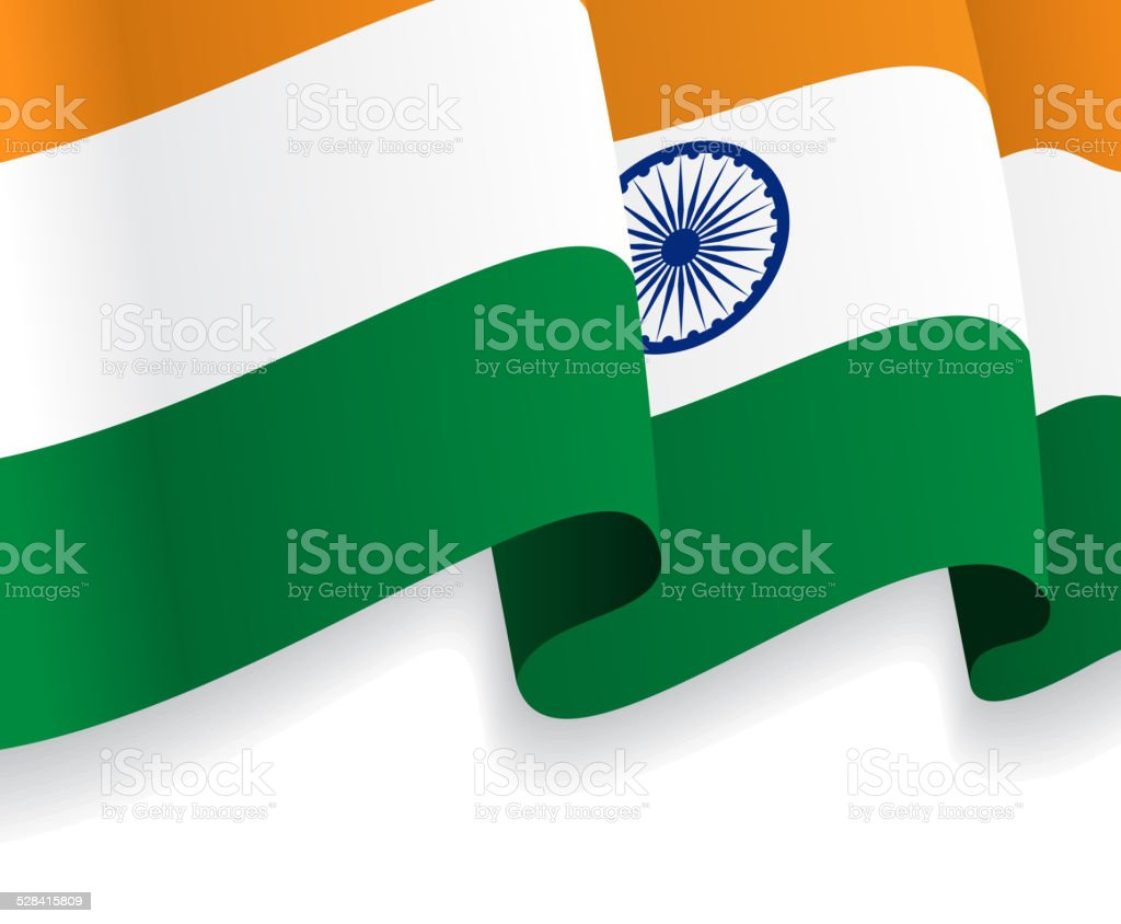 Background with waving Indian Flag. Vector vector art illustration
