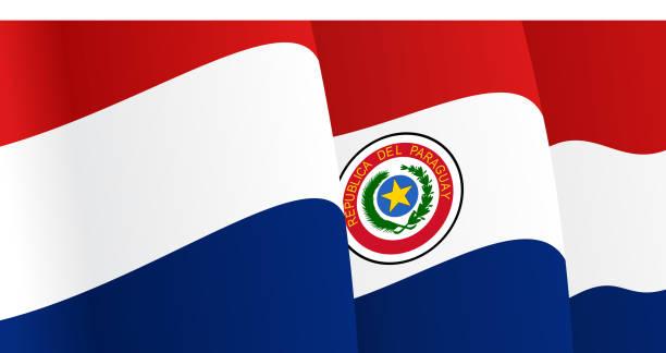 Fondo con agitando bandera paraguaya. Vector - ilustración de arte vectorial