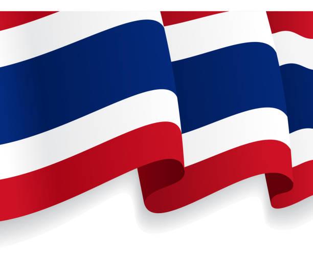 Hintergrund mit winken Thailändische Flagge. Vektor - – Vektorgrafik
