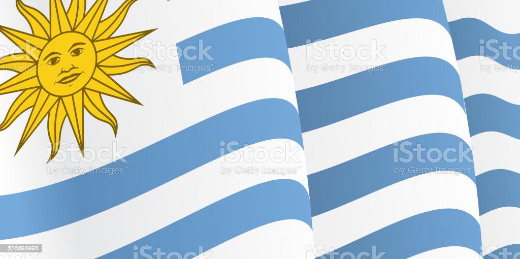 Fondo con agitando uruguayo bandera. Vector - ilustración de arte vectorial