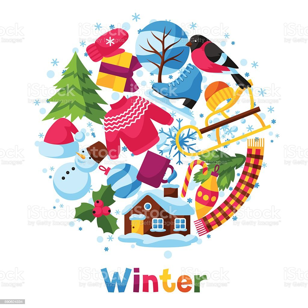 background with winter objects merry christmas happy new year holiday royalty free background
