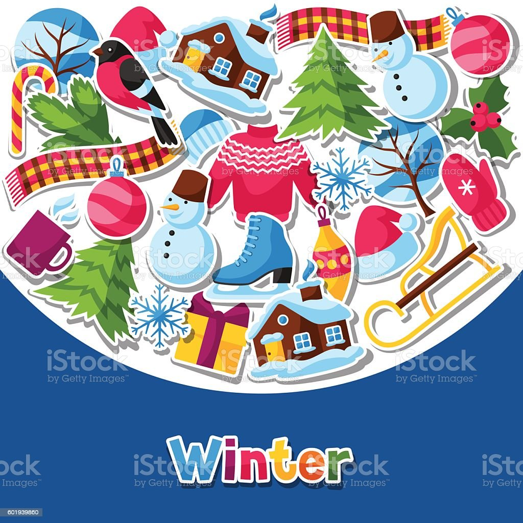 background with winter stickers merry christmas happy new year holiday royalty free background