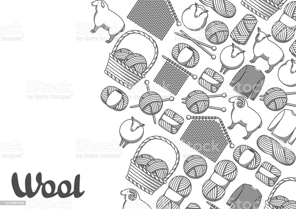 Background with wool items. Goods for hand made, knitting or tailor shop vector art illustration