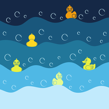 Background with yellow toy ducks and bubbles. Colored vector illustration.
