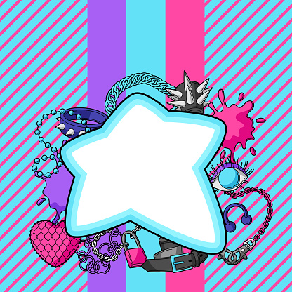 Background with youth subculture symbols. Teenage creative illustration. Fashion necklaces in cartoon style.