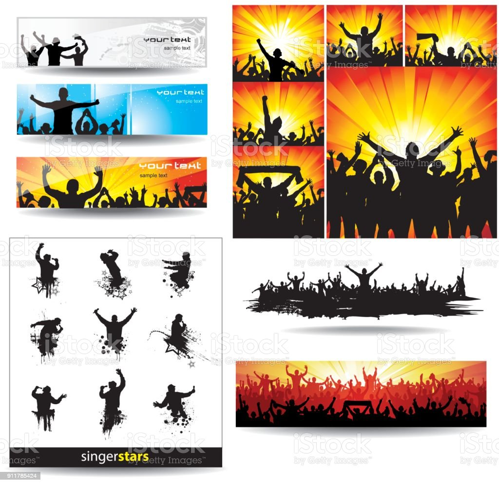 backgrounds and icons of cheering vector art illustration