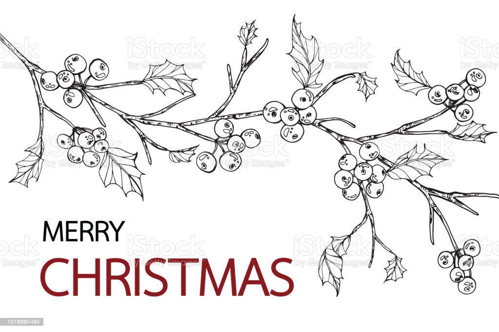 Hintergründe Für Merry Christmas Tag Mit Linie Kunst Schwarzweiß ...
