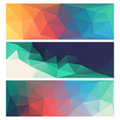 Vector illustration of a set of three low poly backgrounds. Abstract design ideal for web pages, banners, backgrounds and technology and business ideas and concepts.