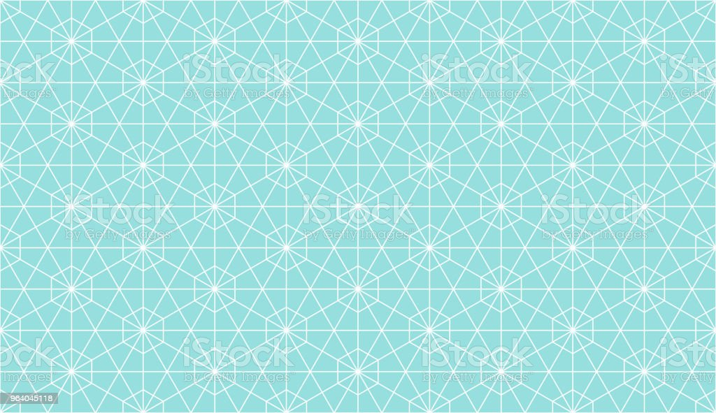 Backgrounds pattern seamless geometric Islamic Arabic style green aqua hexagon abstract and white line vector design. Pastel color background. - Royalty-free Abstract stock vector