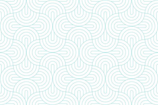 backgrounds pattern seamless geometric white circle abstract and green aqua line vector design. pastel color background. - бесшовный узор stock illustrations