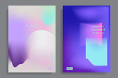 Set of poster with color vibrant gradient background. Trendy modern design. Vector templates for placards, banners, flyers, covers design, presentations and reports. Vector illustration. Eps10