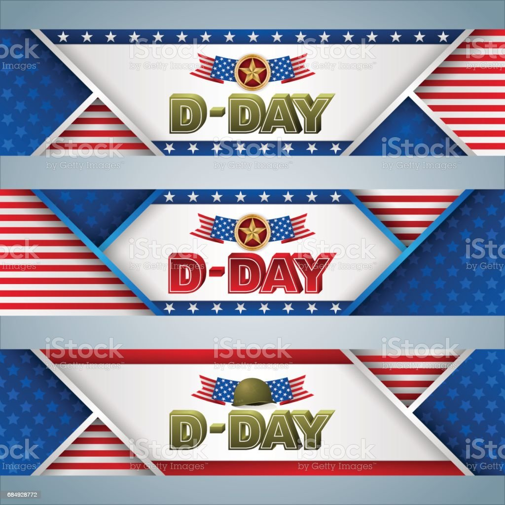 Backgrounds with web banners for D-Day vector art illustration