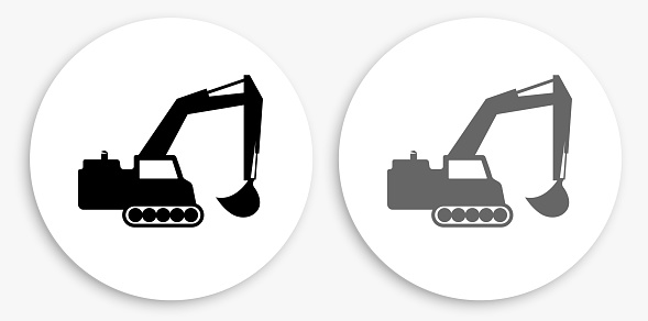 Backhoe Black and White Round Icon