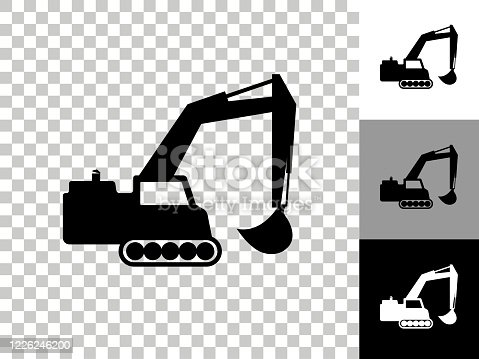 istock Backhoe Icon on Checkerboard Transparent Background 1226246200