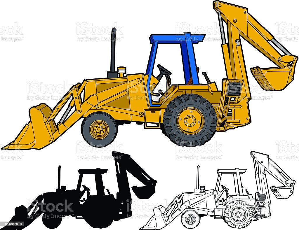 Backhoe side view vector art illustration