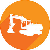 Vector illustration of an orange backhoe tractor icon in flat style.