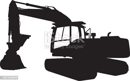 Vector silhouette of a backhoe tractor.