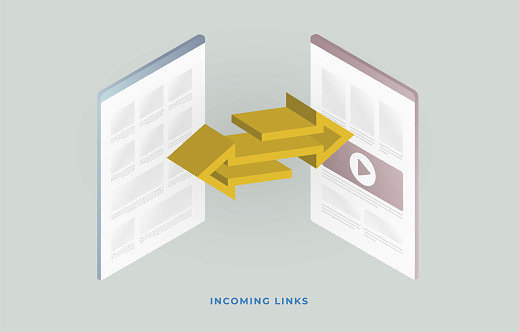 Backlinks or website inbound links. Incoming Links SEO strategy illustration concept - most important marketing elements in search engine optimization