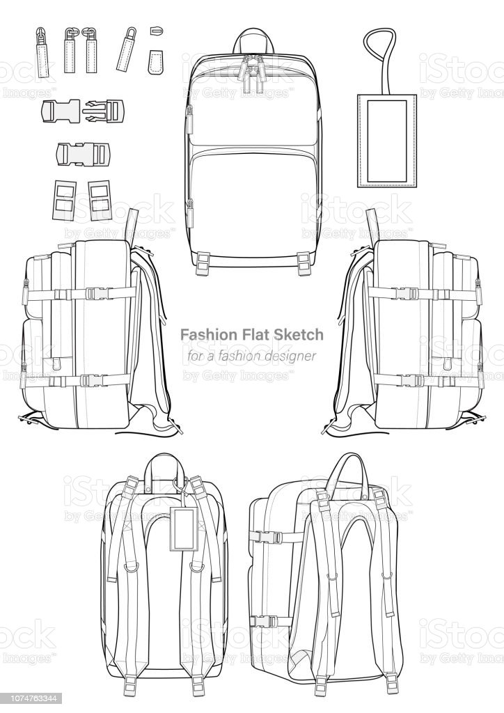 Backpack Design Illustration Flat Sketches Template Stock Illustration Download Image Now Istock