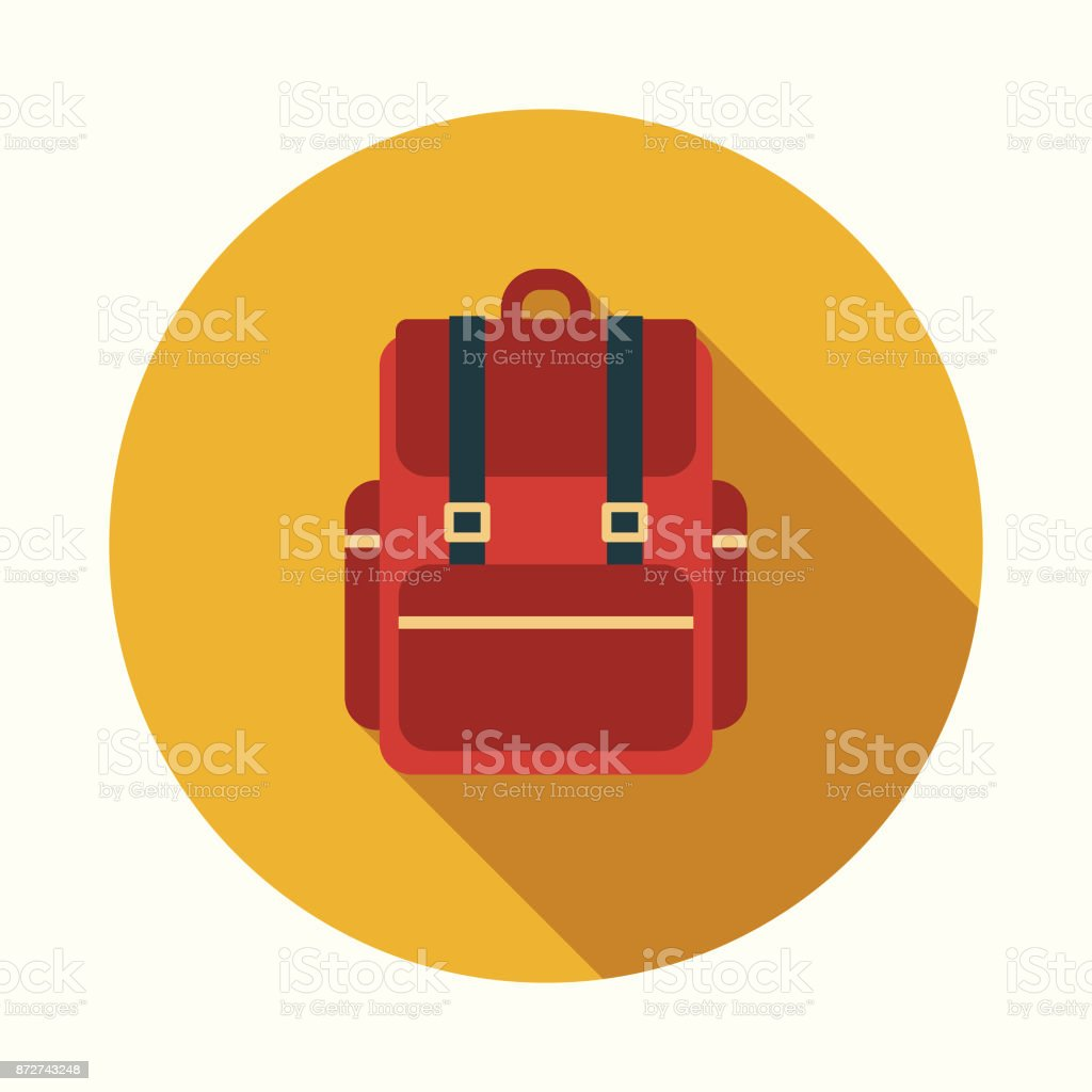 Backpack Flat Design Education Icon with Side Shadow векторная иллюстрация