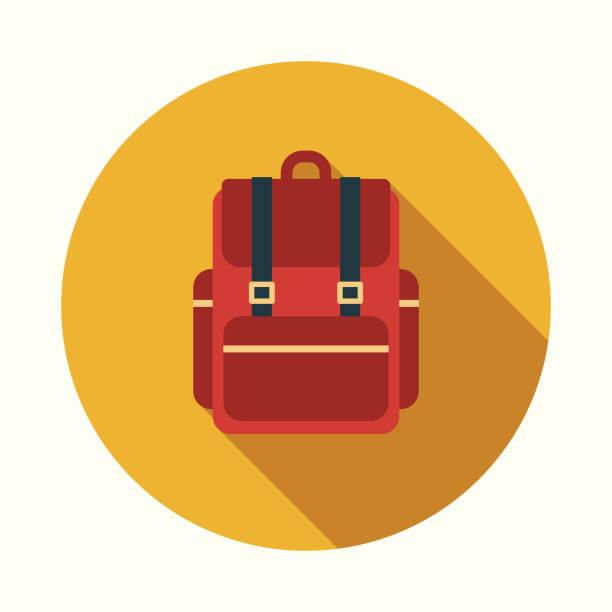 Bекторная иллюстрация Backpack Flat Design Education Icon with Side Shadow