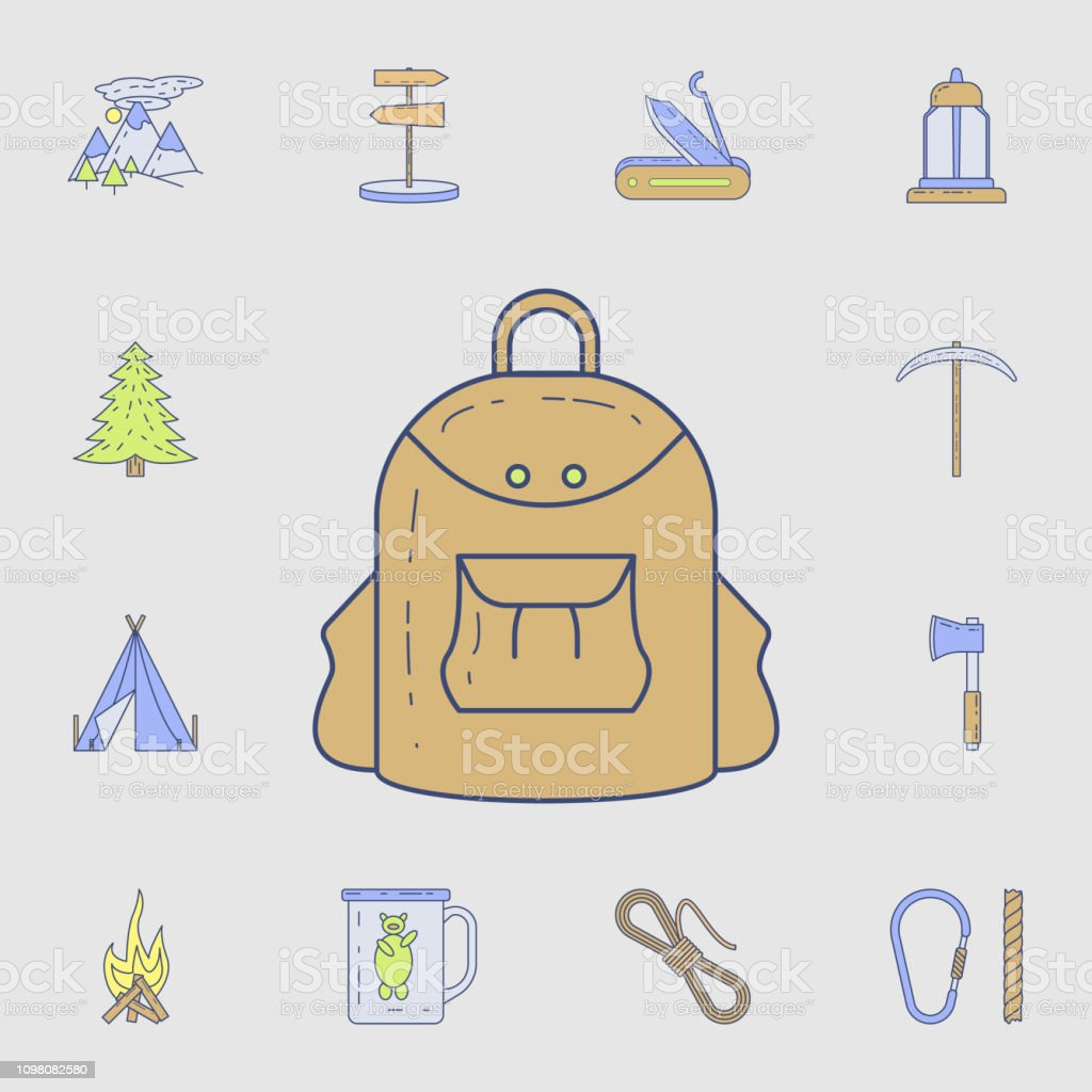 backpack for camping icon. Detailed set of color camping tool icons....