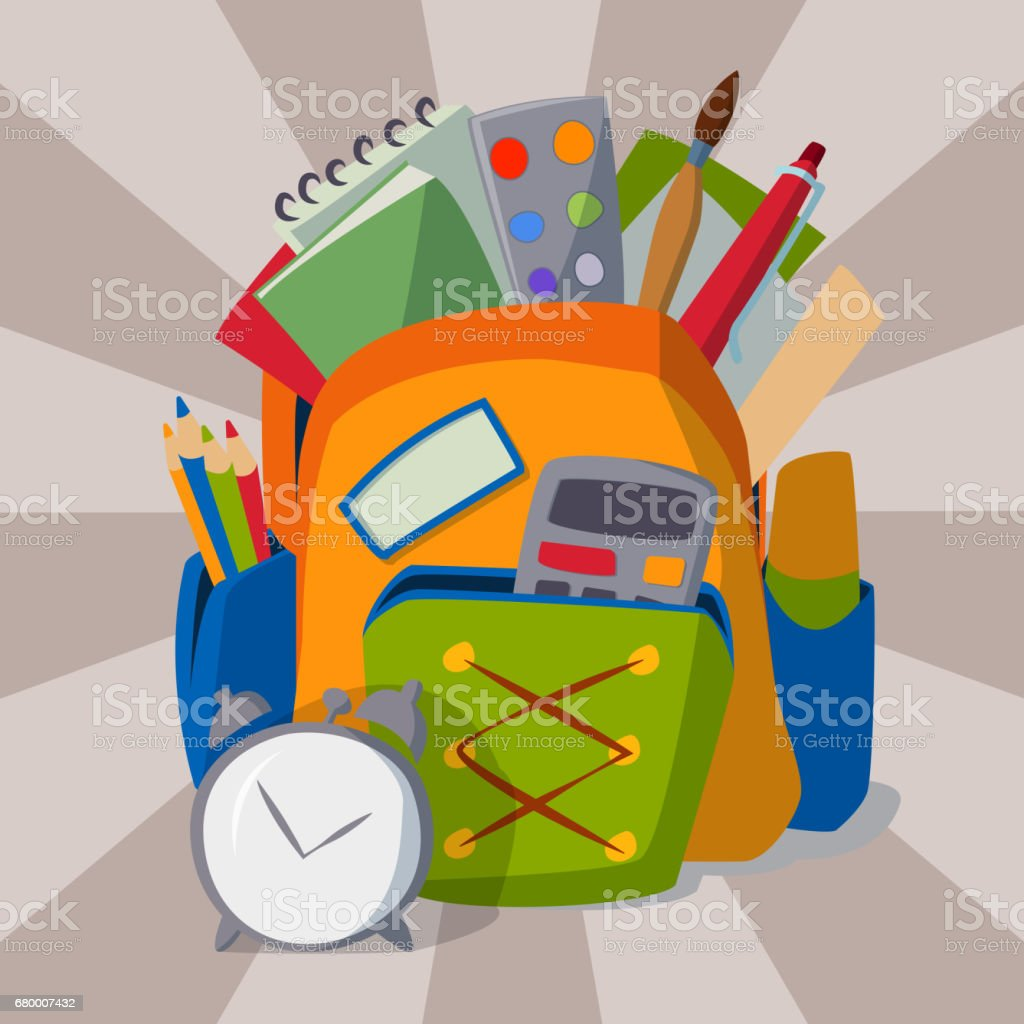 Backpack full of school supplies student baggage equipment education object vector illustration векторная иллюстрация