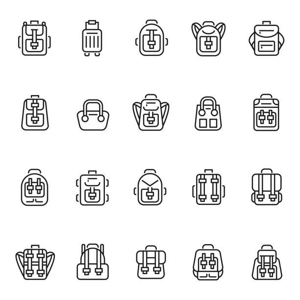 rucksack-icon-set - lederranzen stock-grafiken, -clipart, -cartoons und -symbole
