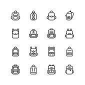 Backpack icon set. Collection of high quality black outline logo for web site design and mobile apps. Vector illustration on a white background.