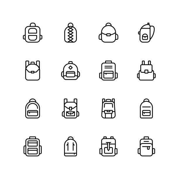 Backpack icon Backpack icon set. Collection of high quality black outline logo for web site design and mobile apps. Vector illustration on a white background. children only stock illustrations