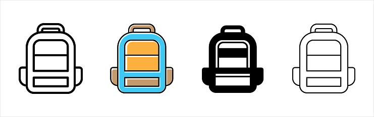 Backpack icon vector set. Back pack icons. School bag vector illustration