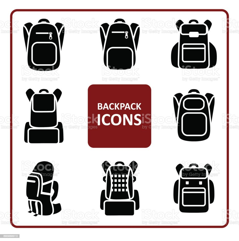 Rugzak icons set​​vectorkunst illustratie