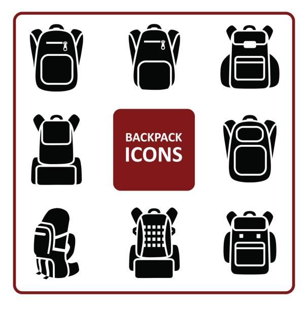Bекторная иллюстрация Backpack icons set
