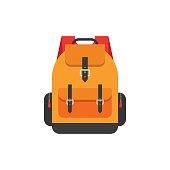 Backpack isolated on white background vector illustration, flat orange school backpack icon