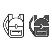 istock Backpack line and solid icon, hiking equipment concept, rucksack sign on white background, Backpack icon in outline style for mobile concept and web design. Vector graphics. 1252562893