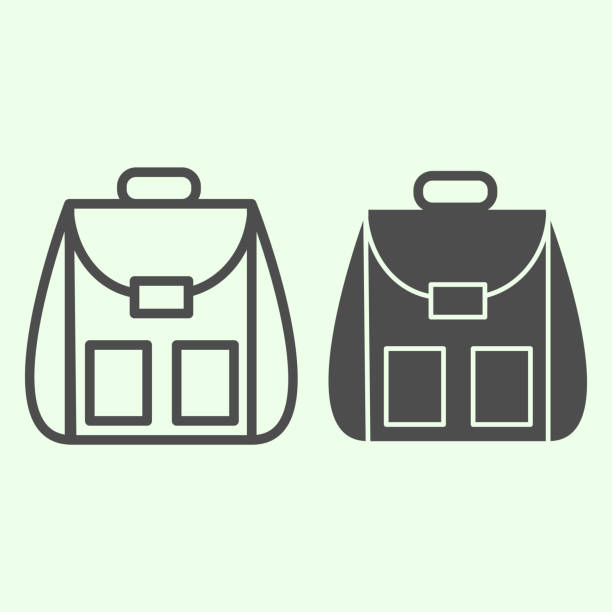 Backpack line and solid icon. Student personal school bag outline style pictogram on white background Schoolbag or daypack for mobile concept and web design. Vector graphics. Backpack line and solid icon. Student personal school bag outline style pictogram on white background Schoolbag or daypack for mobile concept and web design. Vector graphics adventure clipart stock illustrations