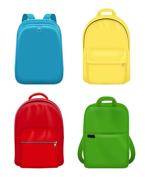 stockillustraties, clipart, cartoons en iconen met rugzak realistisch. schooltas persoonlijke lederen reizen bagage vector mockup objecten - schooltas