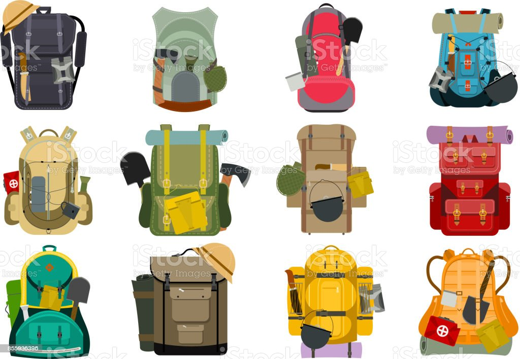 Backpack rucksack travel tourist knapsack outdoor hiking traveler backpacker baggage luggage vector illustration векторная иллюстрация