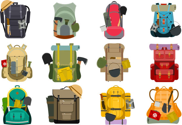 rucksack rucksack reisen touristen rucksack outdoor wandern reisende backpacker gepäck gepäck vektor-illustration - wandermode stock-grafiken, -clipart, -cartoons und -symbole