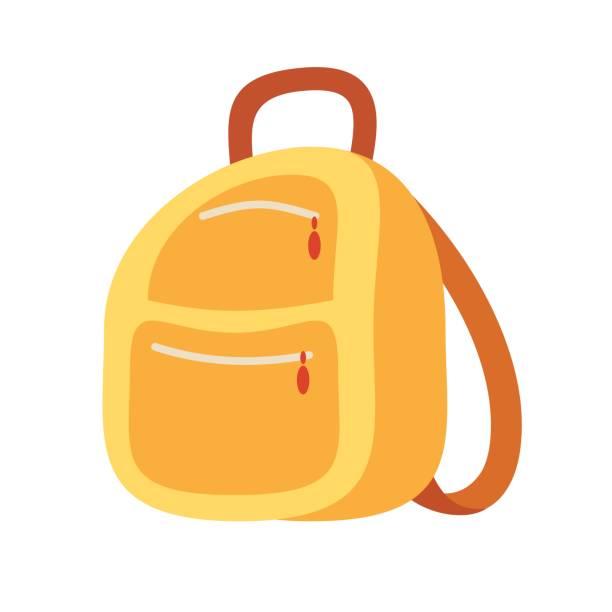 stockillustraties, clipart, cartoons en iconen met rugzak schooltas pictogram in platte stijl. wandelrugzak - schooltas