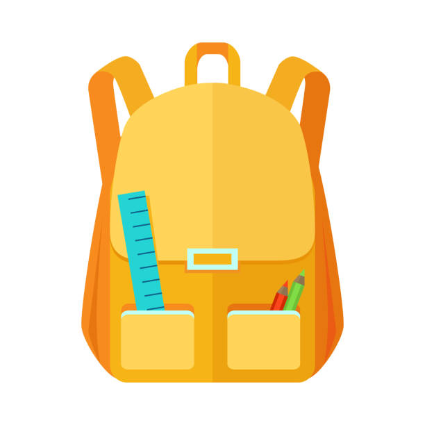 rucksack schoolbag icon mit notebook-ruler - lederranzen stock-grafiken, -clipart, -cartoons und -symbole