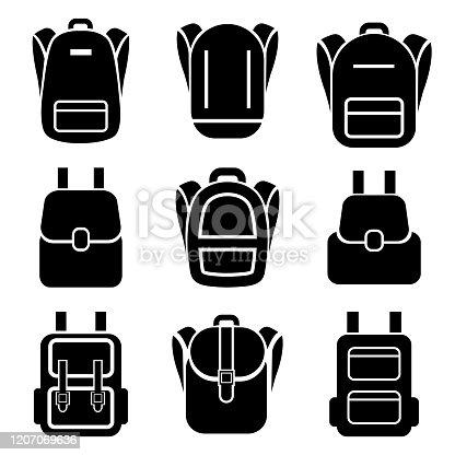 istock Backpack set icon, logo isolated on white background 1207069636