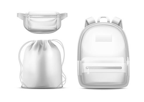 Backpack, sport bag with ropes, belt fanny pack