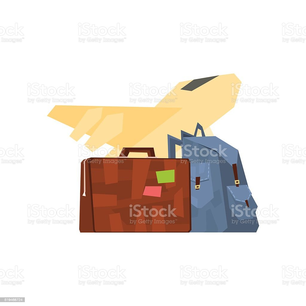 Backpack, Suitcase And Plane vector art illustration
