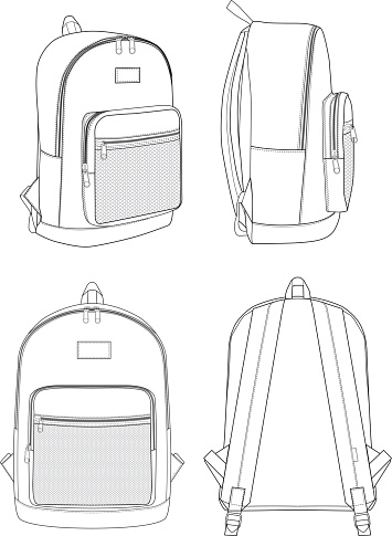 Backpack technical drawing flat sketches