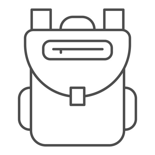 Backpack thin line icon, Back to school concept, schoolbag sign on white background, rucksack icon in outline style for mobile concept and web design. Vector graphics. Backpack thin line icon, Back to school concept, schoolbag sign on white background, rucksack icon in outline style for mobile concept and web design. Vector graphics adventure clipart stock illustrations
