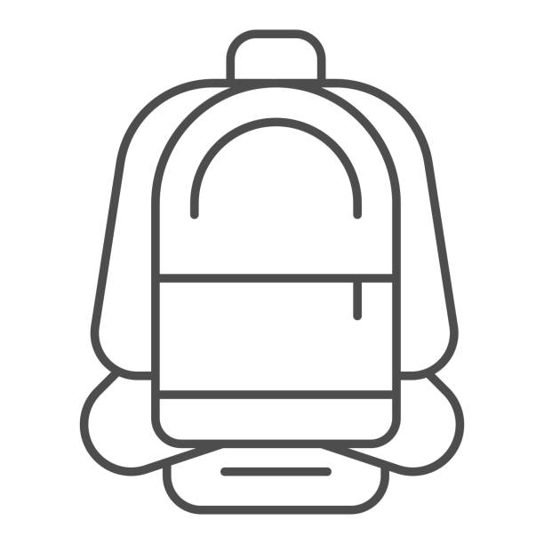 Backpack thin line icon, Summer tourism concept, sport rucksack sign on white background, Travel backpack icon in outline style for mobile concept and web design. Vector graphics. Backpack thin line icon, Summer tourism concept, sport rucksack sign on white background, Travel backpack icon in outline style for mobile concept and web design. Vector graphics adventure clipart stock illustrations